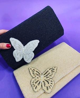 "Custom Monogram Envelope Beaded Clutch Handbag Raised Butterfly 4""x9"""
