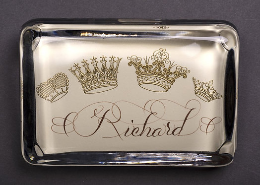 Custom Monogram Name Paperweight With Crowns In A Beautiful Gift Box