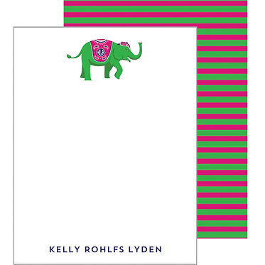 Striped Elephant Pink/Green Personalized Flat Notecards