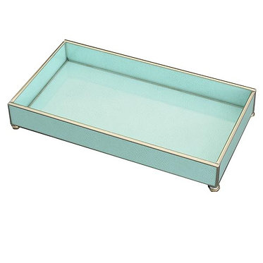 "Sea Foam Lizard Print 6"" x 12"" Metal and Glass Vanity Tray"