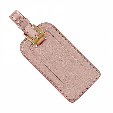 Graphic Image Leather Metallic Monogrammed Luggage Tag Traditional Colors