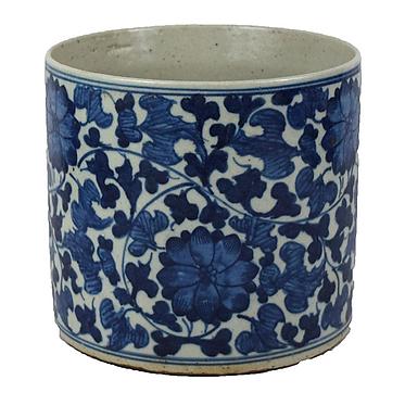 Blue & White Porcelain  Planter - Floral | Leaves