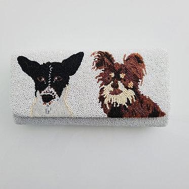 Custom Monogram Envelope Dog Beaded Clutch Handbag With Chain Strap