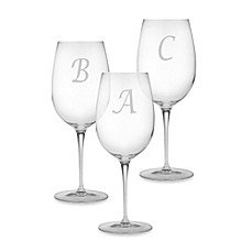 Monogrammed Chardonnay Luigi Bormioli Glasses, 13oz, SET OF 4