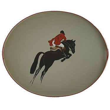 Equestrian Horse Jumping Metal Hand Painted Tray