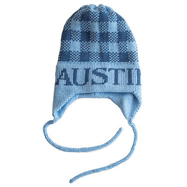 Gingham Name Hat With Earflaps