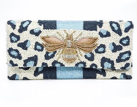 Custom Monogram Leopard Envelope Beaded Clutch Handbag With Chain Strap