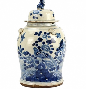 Blue & White Bird Porcelain Ginger Jar