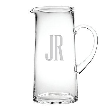 Monogrammed Glass Tankard Pitcher 60oz