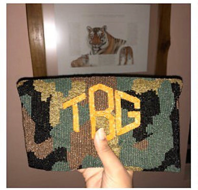 Custom Monogram Camo Envelope Beaded Clutch Handbag