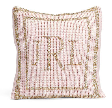 "Metallic Monogram Custom Woven Pillow 15"" x 15"""