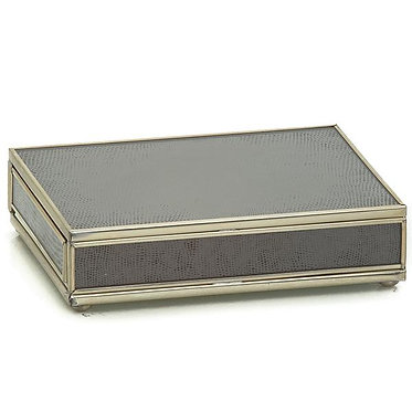 Brown Lizard Print Playing Card Storage Box With Two Decks of