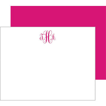Script Monogram Hot Pink Flat Notecards