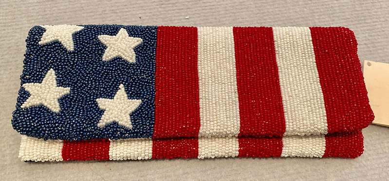 Classic Flap Custom Beaded American Flag Clutch