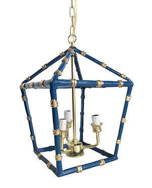 Small Bamboo Lantern In Navy and Gold