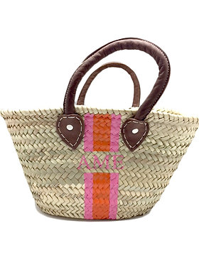 Hand Painted Monogram Small Straw Tote