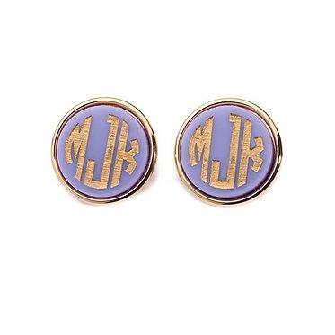 Vineyard Round Post Monogram Stud Earrings