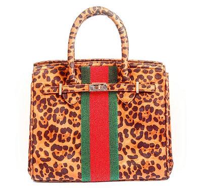 Custom Monogram Leopard Beaded Tote Handbag