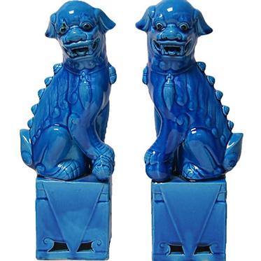 "Foo Dog Pair - Porcelain Blue - 10.5"" Tall"