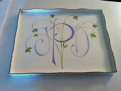 "Hand Painted Custom Monogram Floral 18""x14"" Flat Edge Tray"