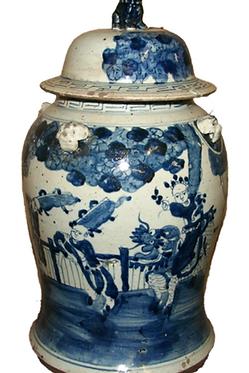 Blue & White Figures Porcelain Ginger Jar
