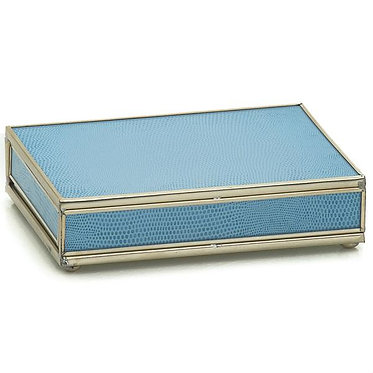 Blue Lizard Print Playing Card Storage Box With Two Decks of