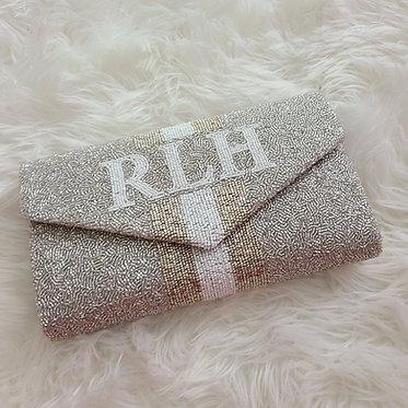 Custom Monogram Envelope Beaded Clutch Handbag With Chain Strap and Date