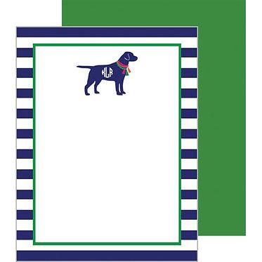 Tassel Dog Monogram Flat Notecards