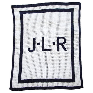 Initials & Single Boarder Monogram Blanket By Butterscotch Blankees