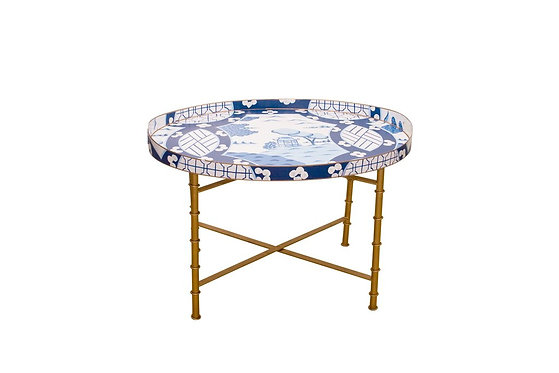 Canton in Blue Tray and Bamboo Tray Stand SET