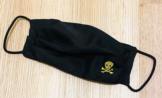 Metallic Skull and Crossbones Embroidered Fabric Face Mask - Multiple Sizes
