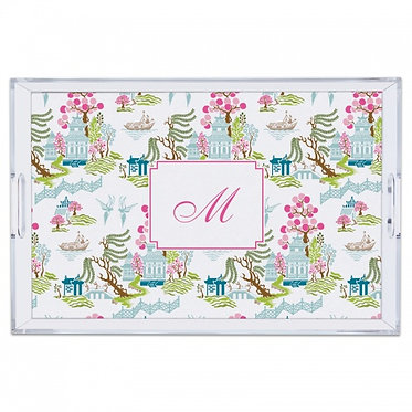 Chinoiserie Spring Lucite Monogram Tray (4 Sizes)
