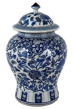 Blue & White  Porcelain Temple Jar - Floral