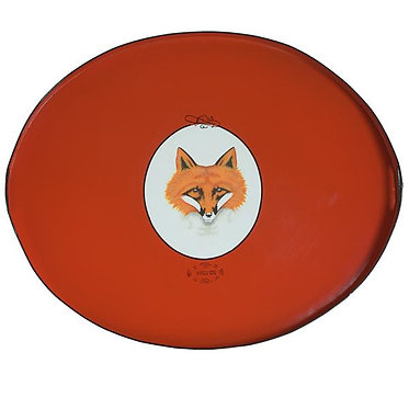 JM Piers Fox Tole Metal Hand Painted Tray