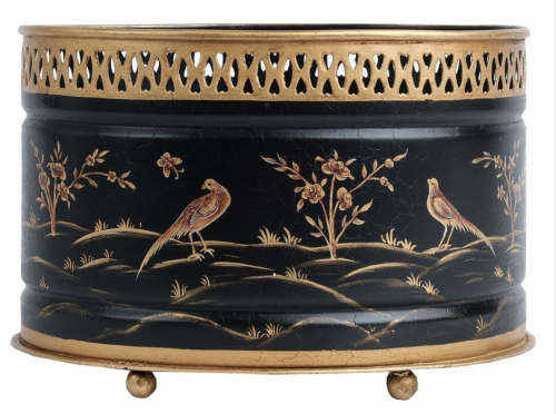 Black and Gold Tole Round Planter