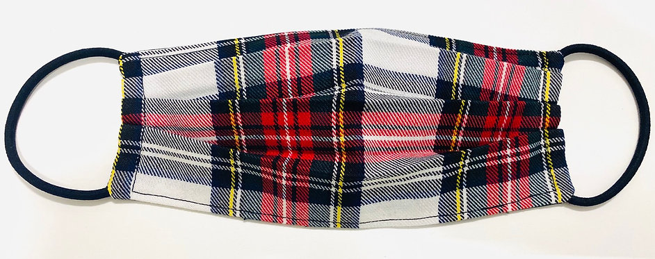 Tartan White Face Mask - Multiple Sizes - Filter or Classic