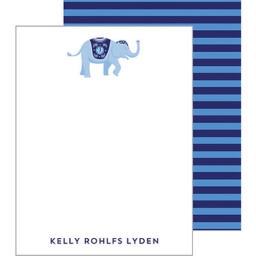 Striped Elephant Blue Personalized Flat Notecards