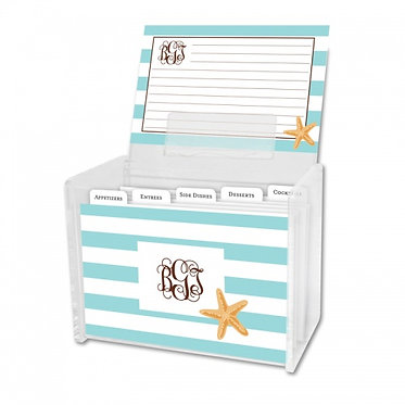 Stripe Starfish Recipe Box With Cards