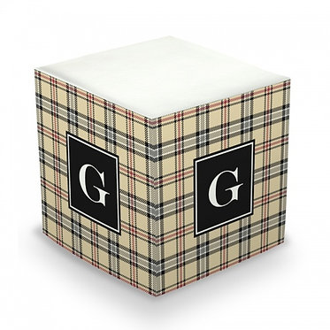 Town Plaid Monogram/Name Sticky Memo Cube