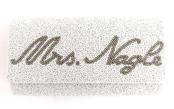 "Custom Monogram Envelope Beaded Clutch Handbag 4""x9"" With Chain Strap"