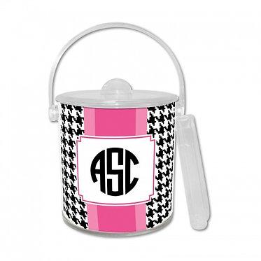 Alex Houndstooth Lucite Ice Bucket