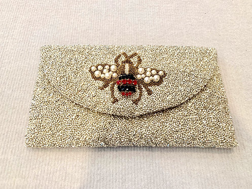 Large Flap Custom Jeweled Bee Pearl Monogram Beaded Clutch With Chain Strap