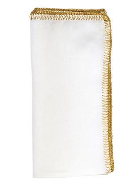CROCHET EDGE NAPKIN IN WHITE & GOLD, SET OF 4
