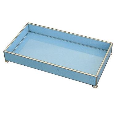 "Blue Lizard Print 6"" x 12"" Metal and Glass Vanity Tray"