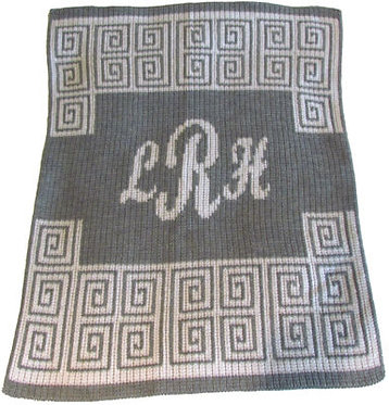 Scroll Script Monogram Blanket By Butterscotch Blankees