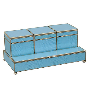 Blue Lizard Print Metal and Glass Three Box Vanity Set