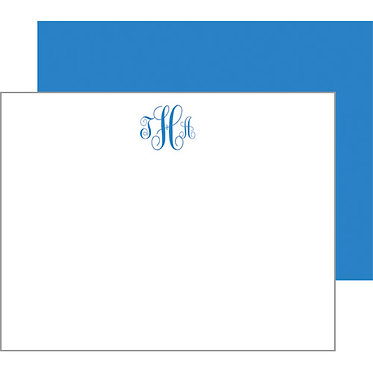 Script Monogram Cornflower Blue Flat Notecards