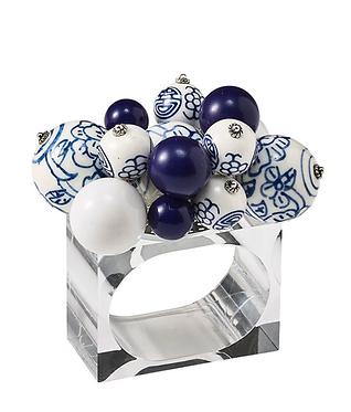 CLOUD NAPKIN RING IN WHITE & BLUE, SET OF 4 BY KIM SEYBERT