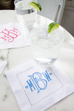 Monogram Linen Cocktail Napkins Set of 4