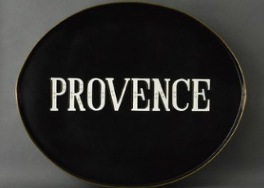 Provence Black Metal Tole Hand Painted Tray
